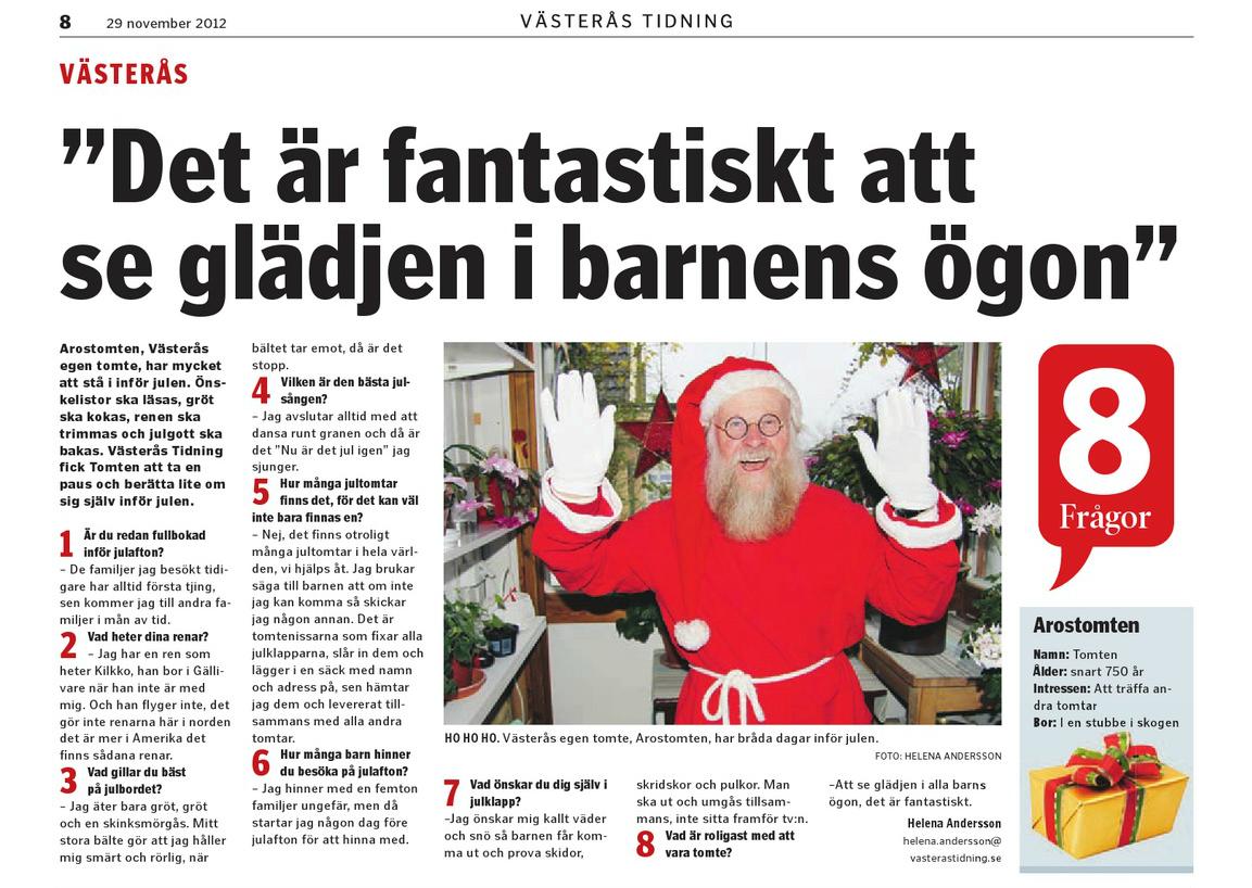 Intervju i Västerås Tidning 2012-11-29